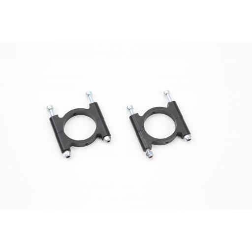 25mm Aluminium Clamps, Black Zinc Coated w/Hardware (2 sets)